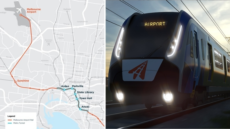 An image of the proposed airport rail path along with a train to service the line.