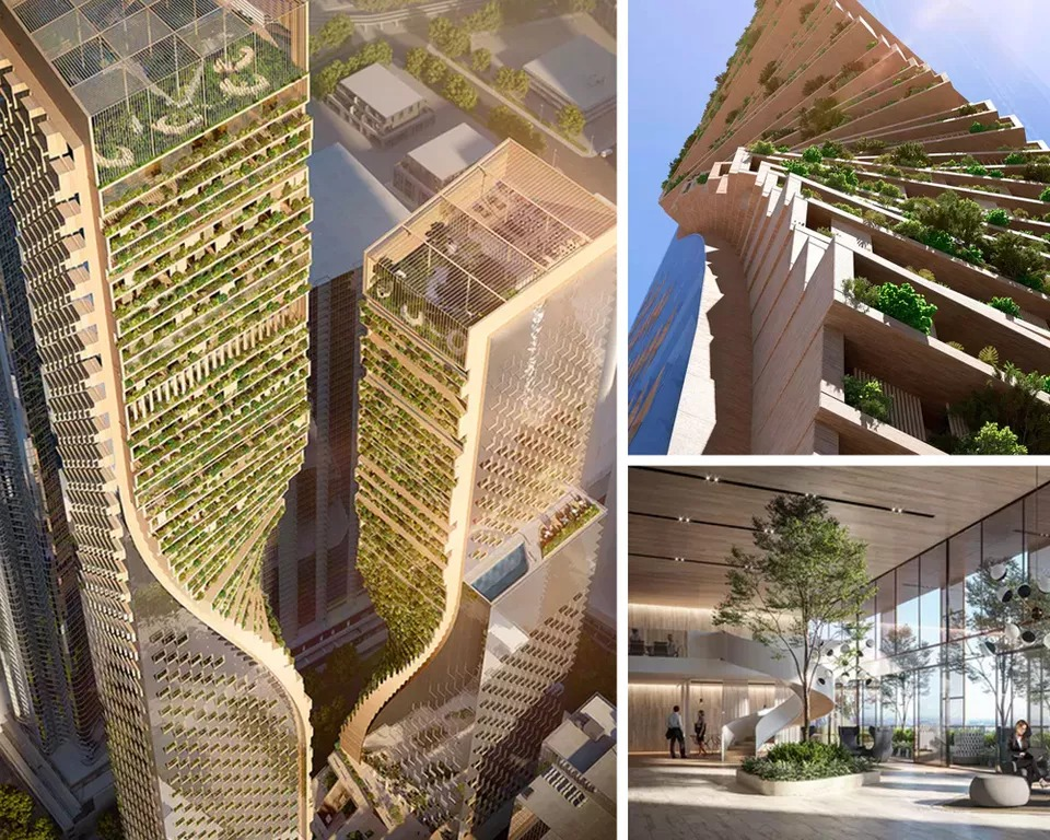 "▲ The twin-tower project, dubbed the ""Green Spine"", is organised around a vertical city of green spaces, networked platforms, terraces and verandas. Image: UNStudio & Cox Architecture."