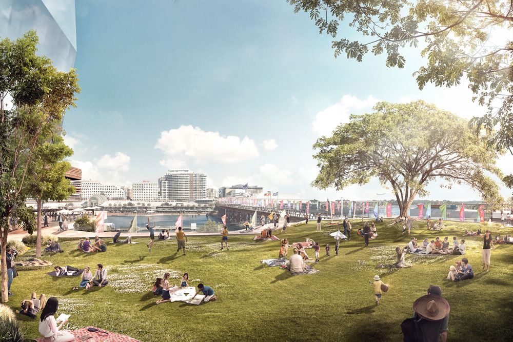 The developers said the public space will enhance Darling Harbour's capacity to host public events such as New Year's Eve, Vivid and Chinese New Year and be able to accommodate up to 20,000 people for large events.