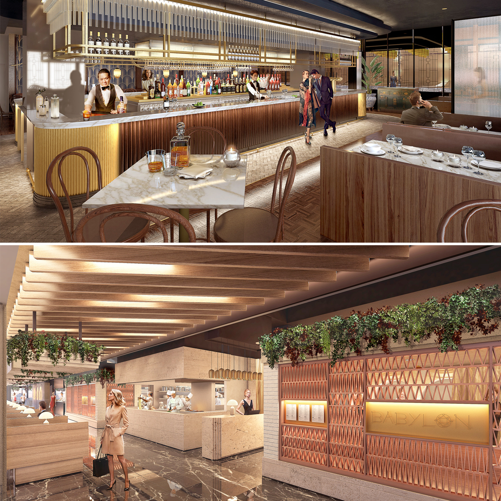 Brisbane architecture firm Hogg and Lamb are designing Mantle Group's multimillion-dollar Pitt Street tenancies. Pictured: Artist's impressions of Cantonese restaurant Duck and Rice (above) and middle-eastern concept Babylon.