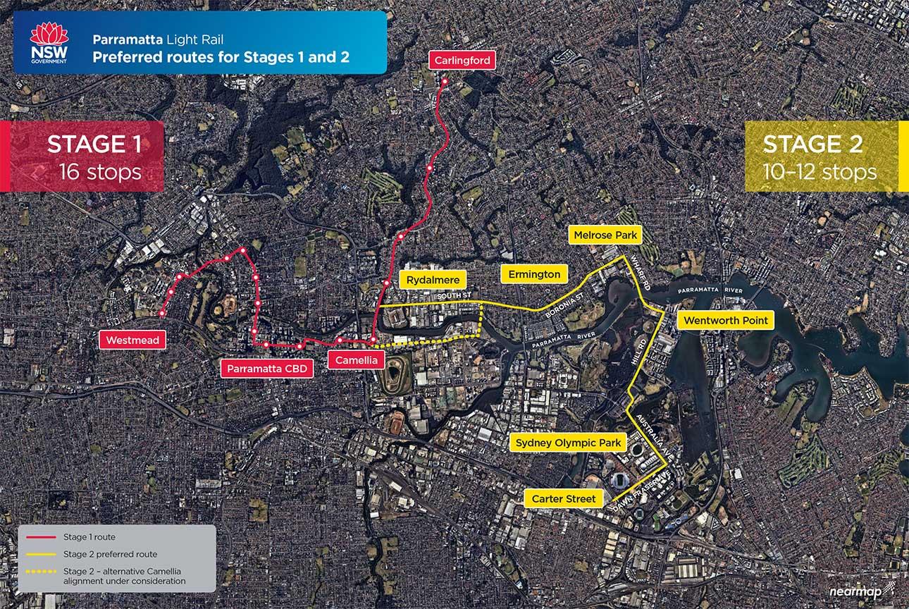 Parramatta Light Rail will connect the Westmead health precinct to Carlingford via Parramatta CBD. Stage one will have 16 stops.