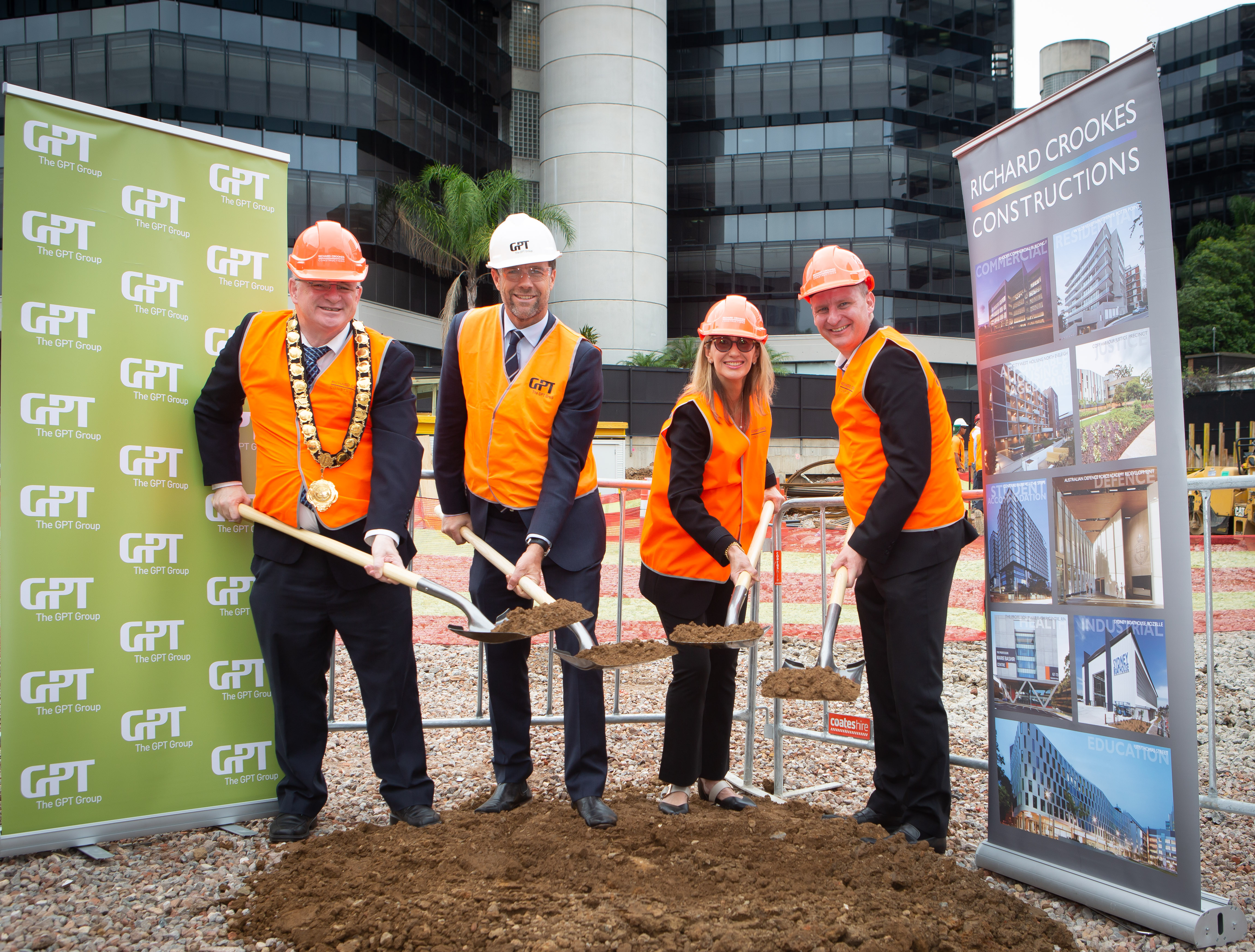 QBE Australia Pacific's Chief Operating Officer Renee Roberts and City of Parramatta Lord Mayor Cr Andrew Wilson joined GPT's Head of Office & Logistics Matthew Faddy in turning the first sods on the site of the future 26,400sq m tower.