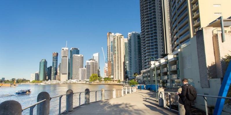 Brisbane River before upgrades to redevelop Eagle Street Pier begin.
