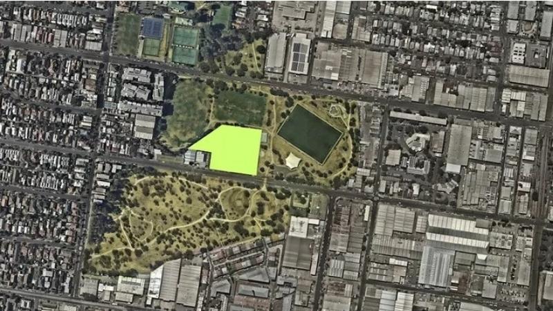 The Albert Fields precinct site sits between parkland in Brunswick, Melbourne.