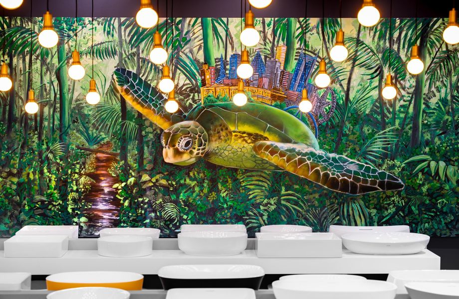 ▲ Basins and the flying turtle. Artwork by Australian artist Mike Makatron.