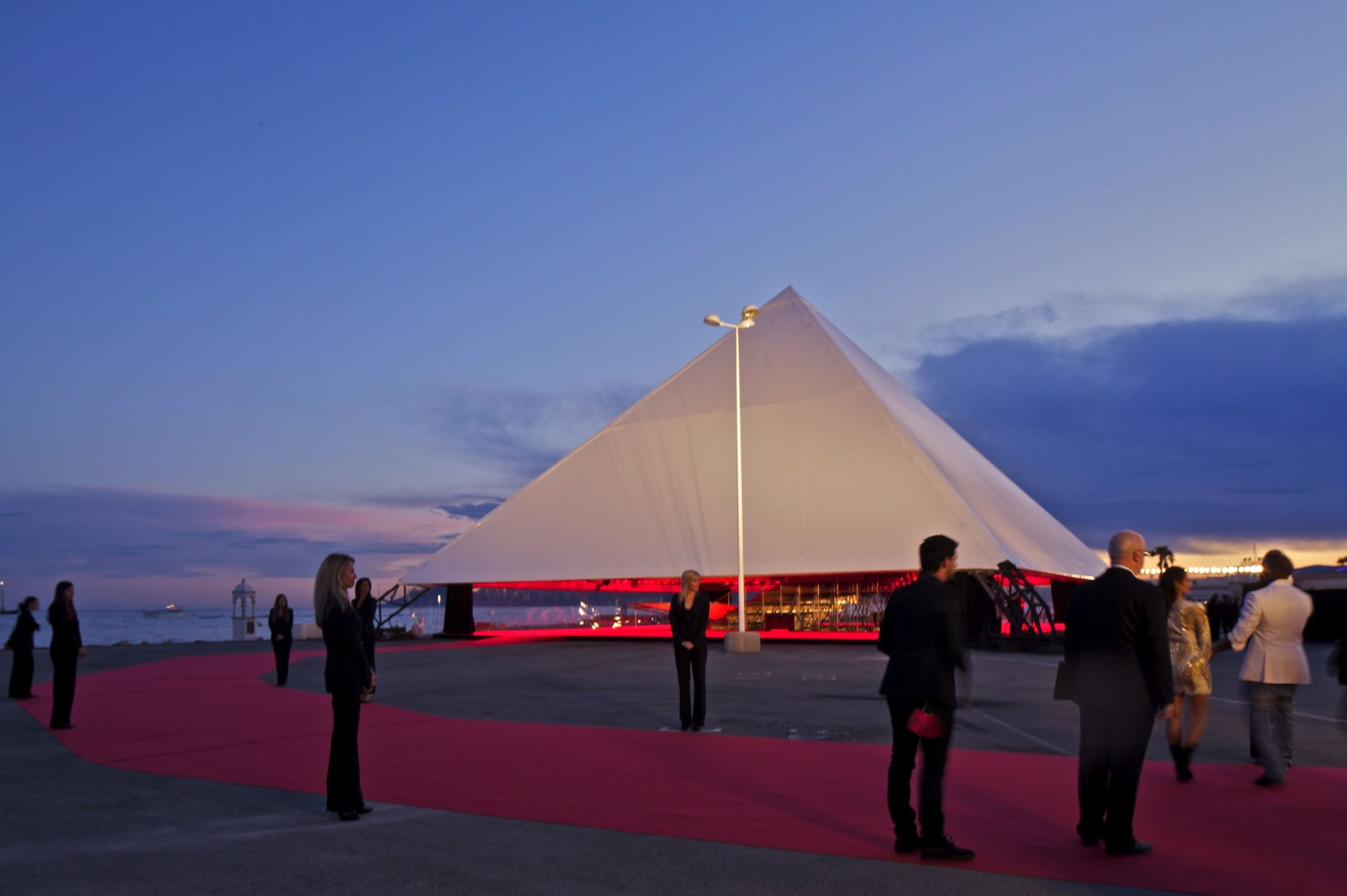 In 2012 West commissioned global architects OMA to design a temporary pavilion for the Cannes Film Festival. Image courtesy of OMA