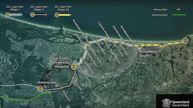The Gold Coast Light Rail system has 19 stations from Helensvale to Broadbeach serviced by 18 G:link trams.