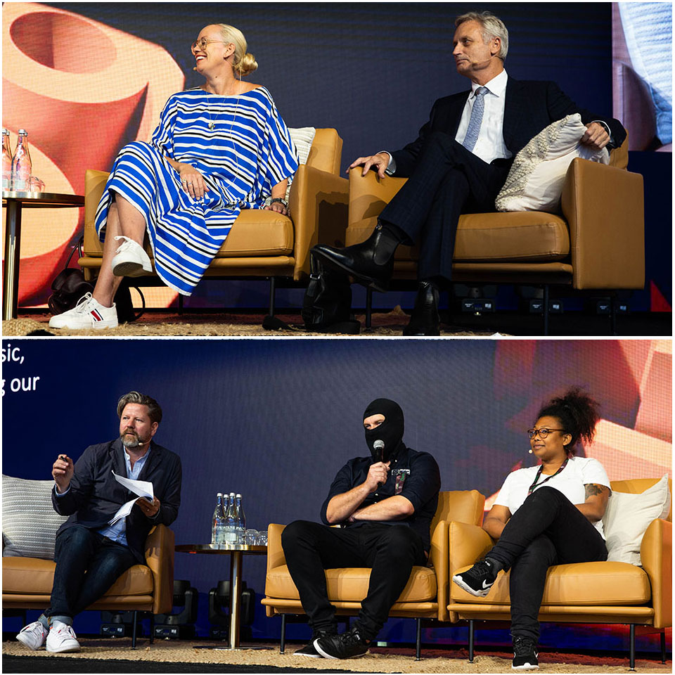 Top: Hutchinson Builders chairman Scott Hutchinson and National Gallery of Australia Art Curator Alison Kubler Bottom: Comedian Tim Ross in conversation with artist Scott Marsh and Greens candidate Trina Massey at Urbanity 19.