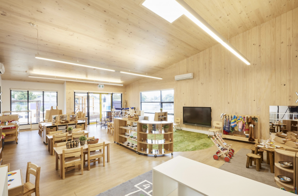 The Oakleigh Childcare Centre provides an example of how well CLT fits with the needs of education projects. (Insight Architects and Vistek)