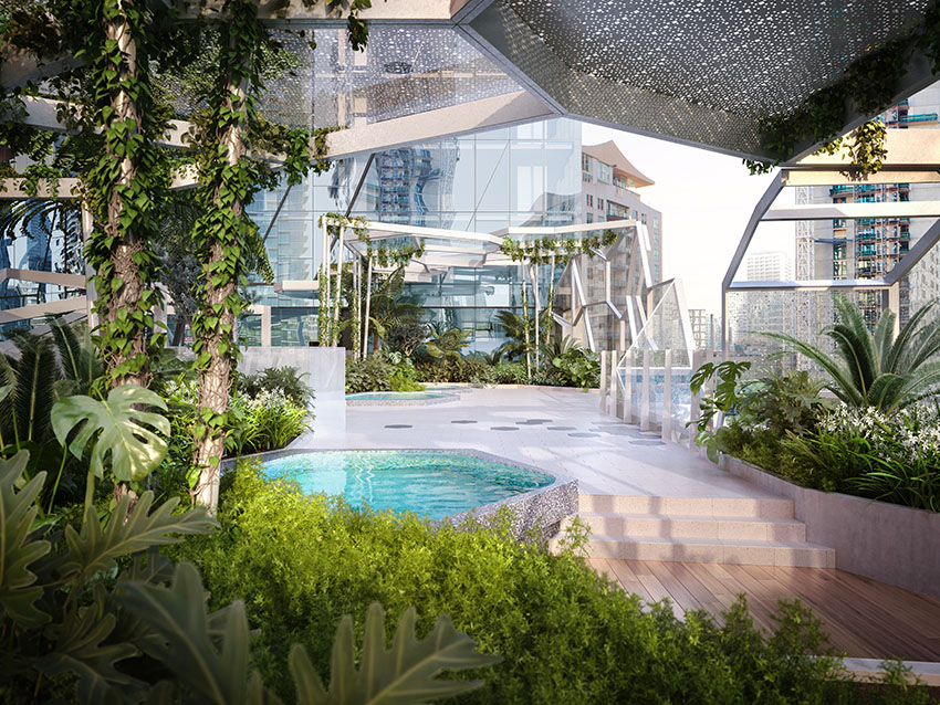 Residents' plunge pool and landscaped gardens on podium level