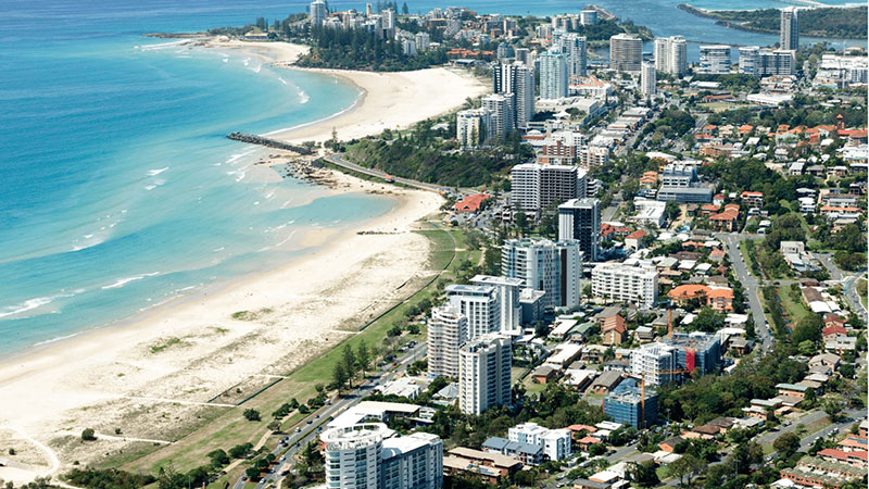 ▲  The Kirra Beach hotel sits at the southern end of the Gold Coast.