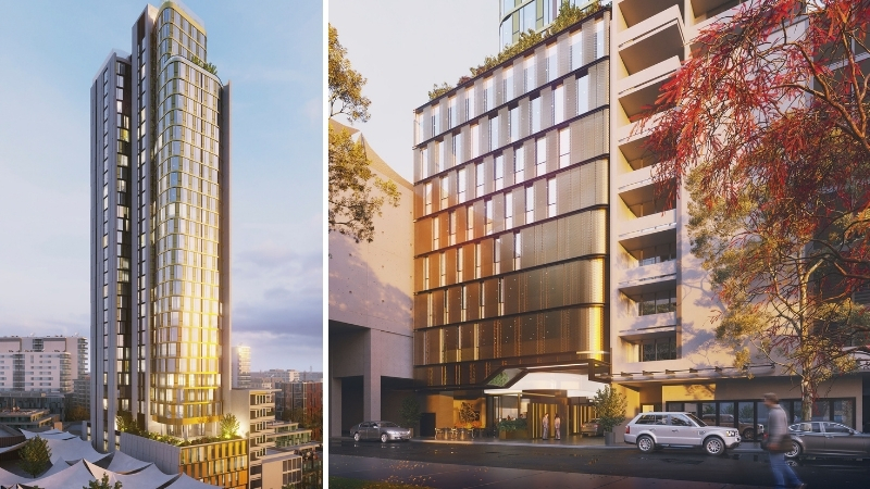 The glass and gold tower is located between Westfield Parramatta Shopping Centre and an existing 13-storey development.