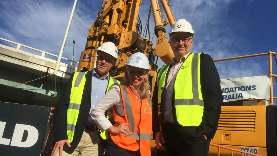 Probuild's Jeff Wellburn, Tourism Minister Kate Jones and Consortium project director Simon Crooks.