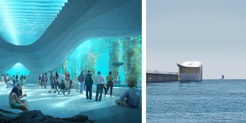 ▲The AUDC will be positioned partially underwater and feature a large window overlooking the ocean floor.