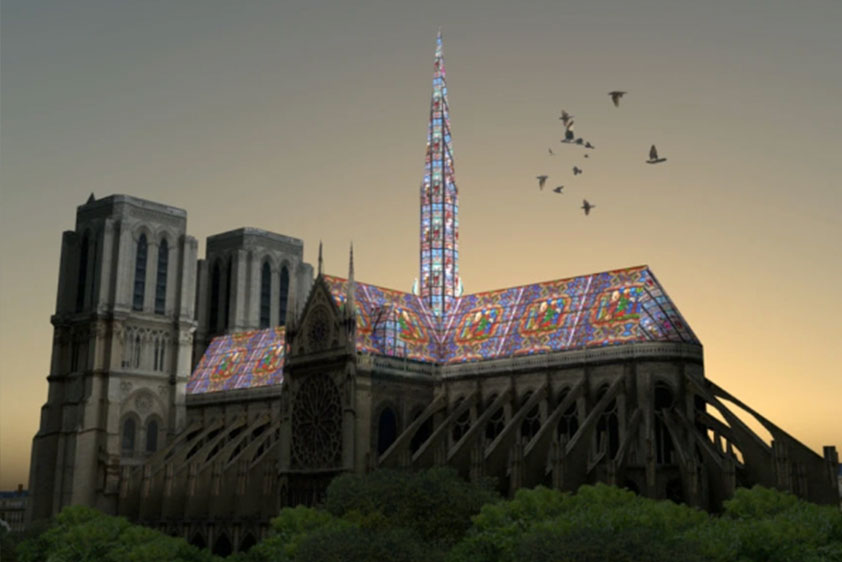 Alexandre Fantozzi's proposal features a rebuilt roof and spire entirely in stained glass.