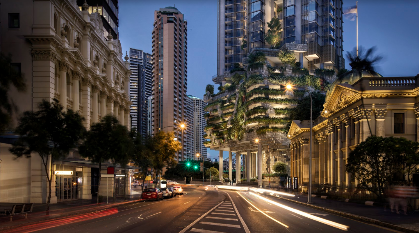 A Binyan rendering of Cbus' 443 Queen Street in Brisbane, designed by local firm Architectus and Singaporean firm WOHA. The building is being marketed as designed specifically for Brisbane's subtropical climate.
