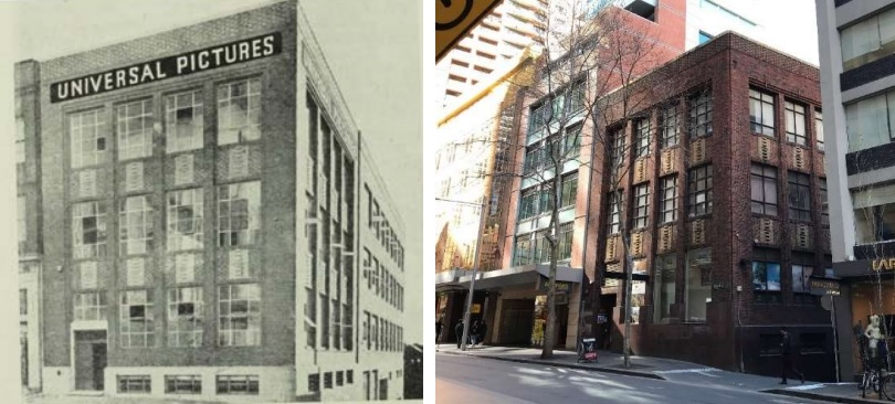 A black and white photo of a four storey brick building with a Universal Pictures sign alongside a photo of the building today.