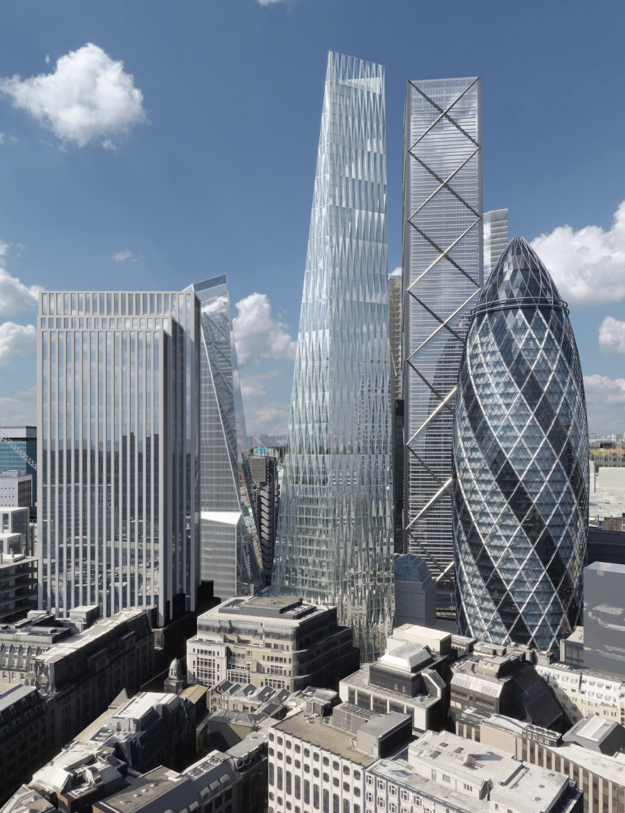 The Diamond will be built within a close-knit formation of towers known as the Eastern Cluster, which also includes Norman Foster's Gherkin.