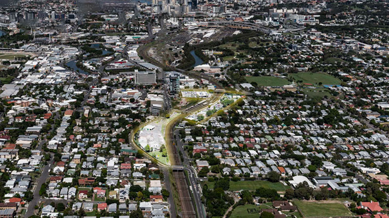 ▲ The development site will sit immediately south of and above the existing Albion Train Station, stretching as a spine from the Albion Overpass through to the former Albion Fire Station located on Merehaye Street. Image: Geon Property