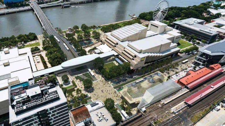 Artists' impression of the Cultural Centre precinct following the major project of Brisbane Metro's alterations.