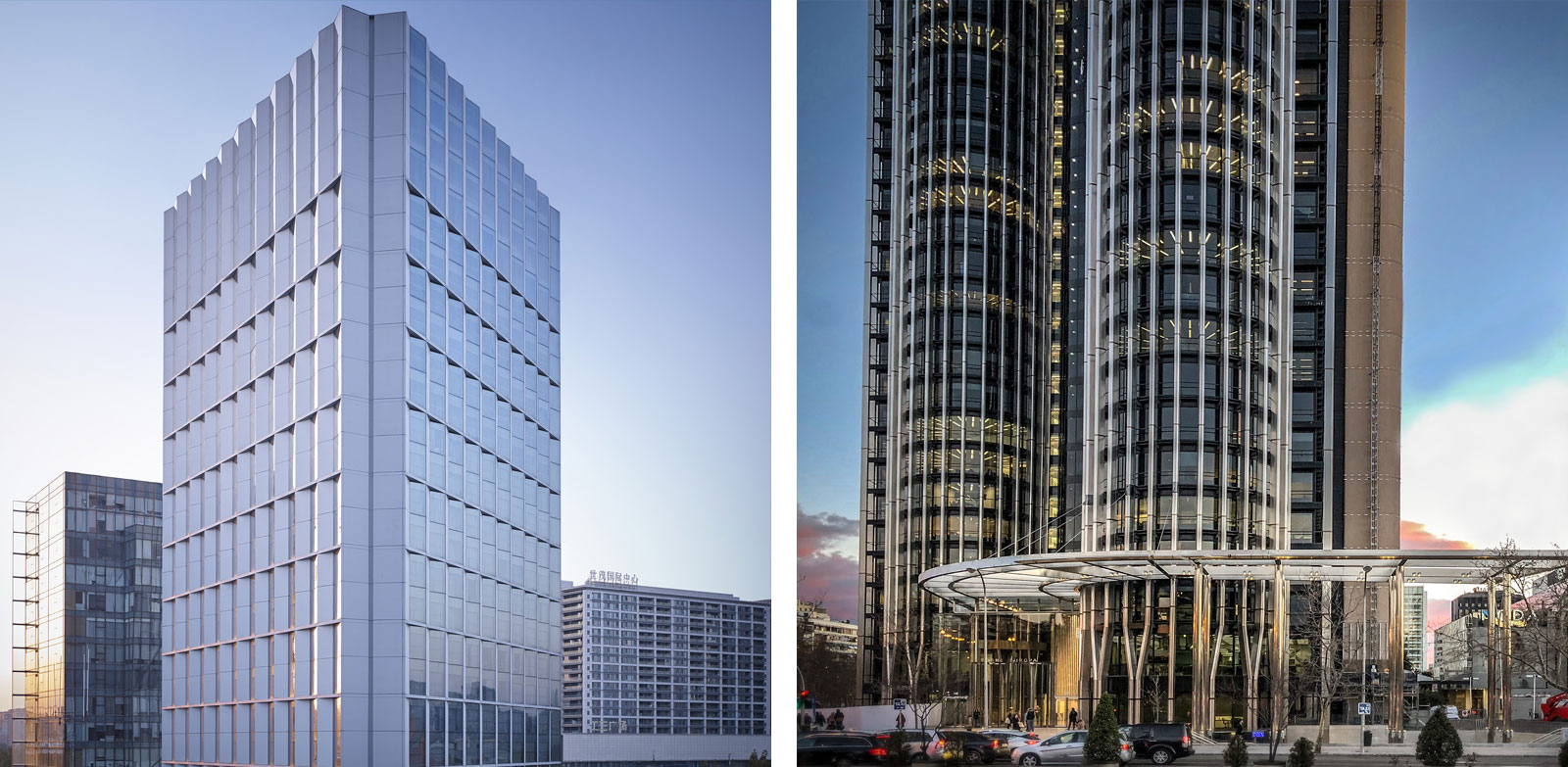 CHAO Hotel - Beijing (left), Torre Europa - Madrid (right).