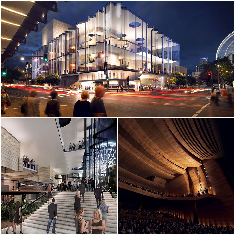 Concept design images show interior renderings of the theatre, and the glass Grey Street façade.