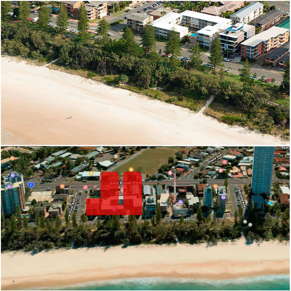 plans for 48 to 58 The Esplanade and 5 First Ave Burleigh Heads.