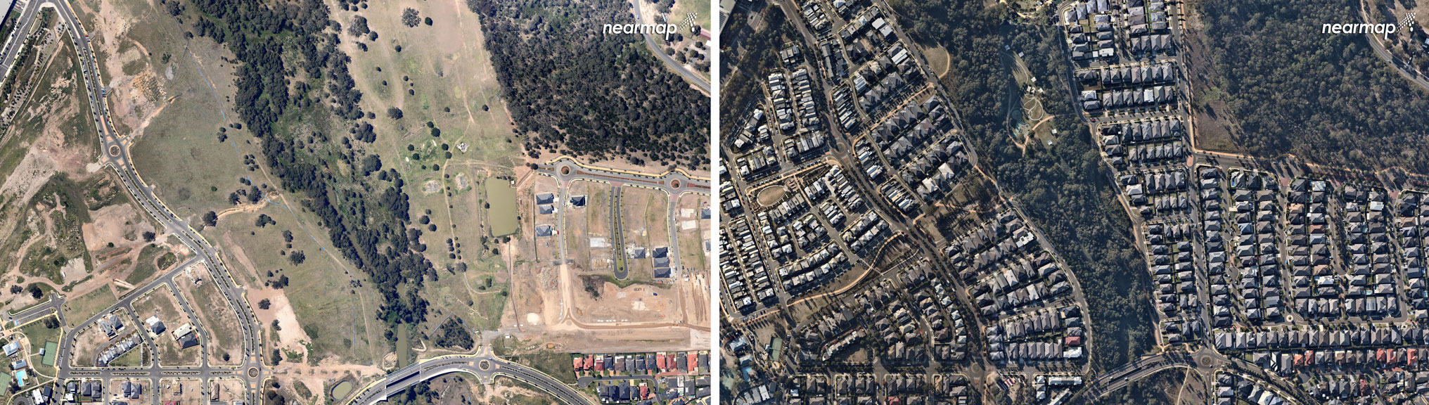 Rouse Hill, October 2009 (left), Rouse Hill, May 2018 (right).