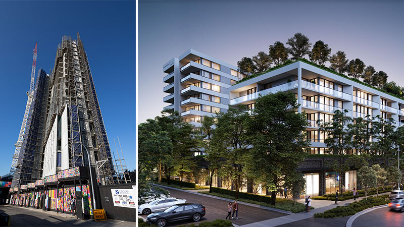 ▲L: Construction on 77-123 Eveleigh Street Redfern topped out at 24 levels this month. R: Plans for Deicorp's 375 apartment project in Rouse Hill. Images: Deicorp