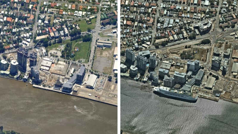 Two images side by side comparing a highrise area in 2011 and 2017 on Brisbane River.