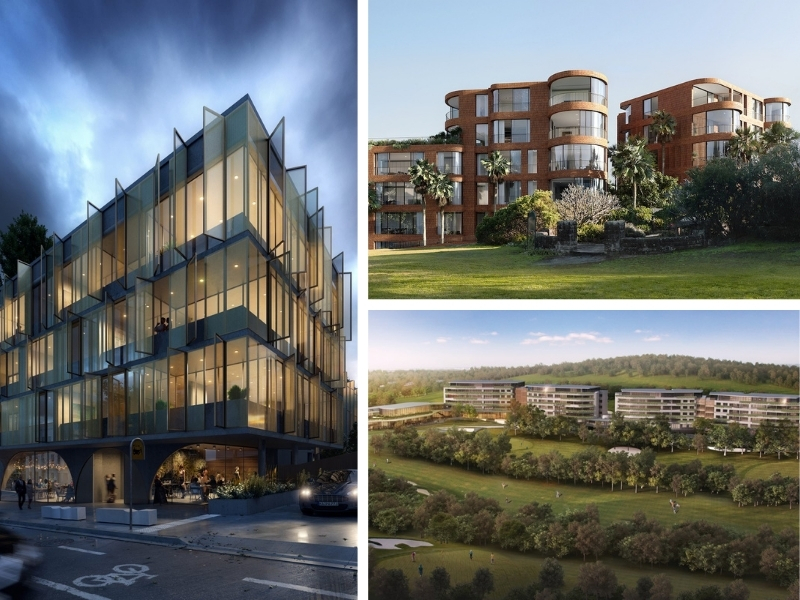 A mid-size composite picture of Thirdi Group's current projects including the Paragon of Pyrmont a inner-city Nortic style building, the red-brick and rounded Kurraba Residences and the Merewether Residences multiple apartments alongside a golf course.