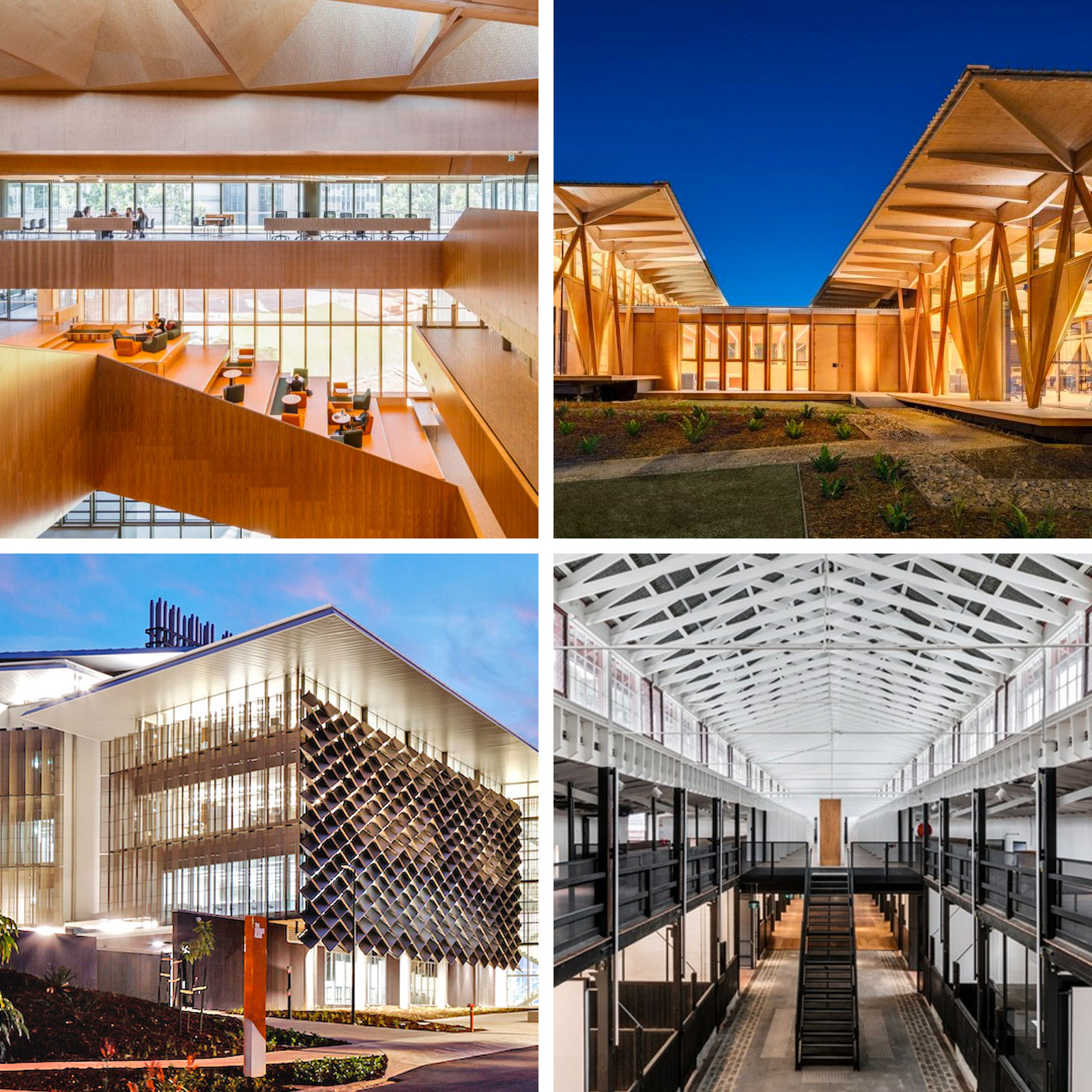 Monash University Learning and Teaching Building (top left), Macquarie University Incubator (top right), The Science Place (bottom left) and Victorian College of the Arts former Mounted Police Stables (bottom right).