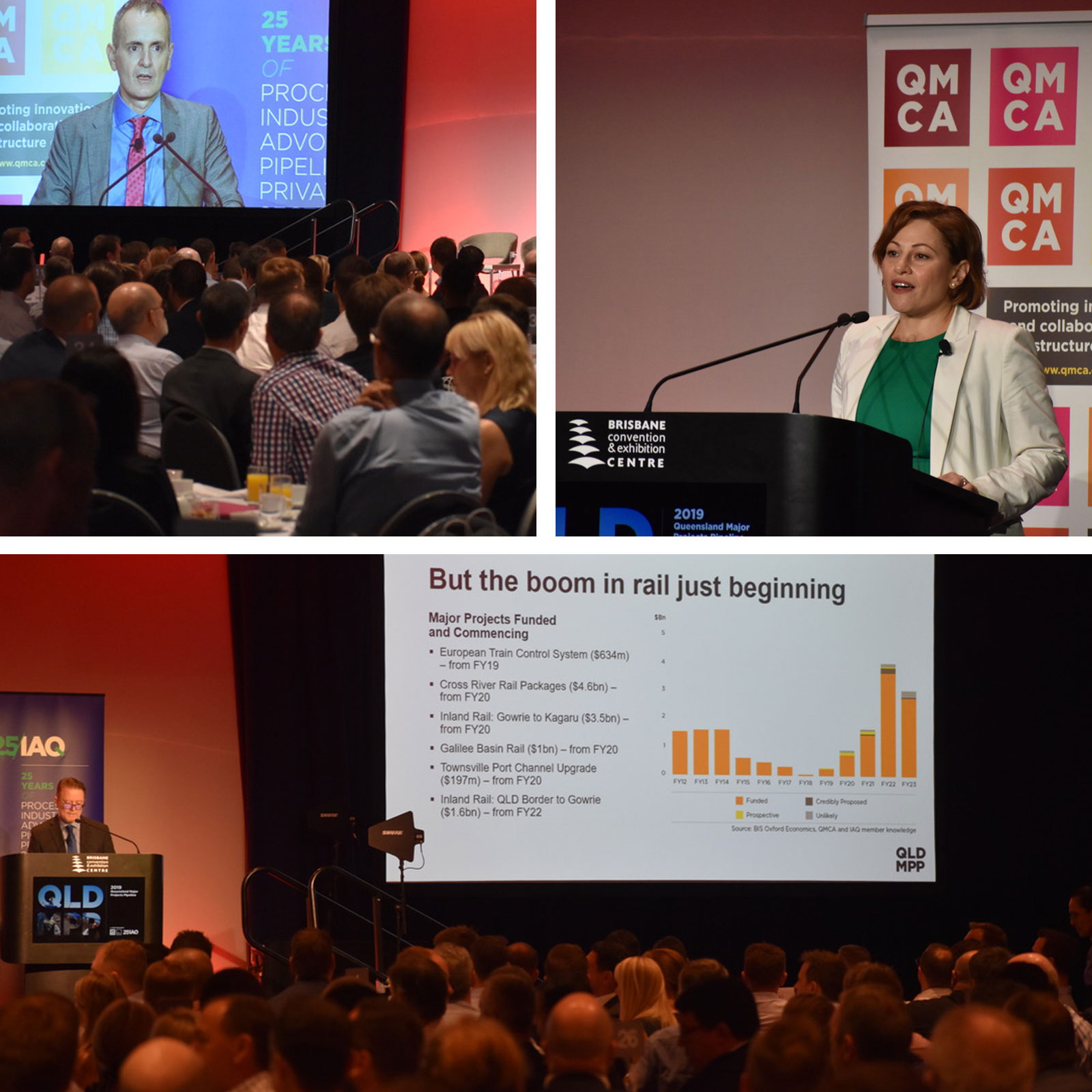 QMCA's chief executive Jon Davies (top left), Deputy Premier The Hon Jackie Trad (top right), BIS Oxford Economics associate director Adrian Hart (bottom) launching the 2019 Queensland Major Projects Pipeline Report in Brisbane.