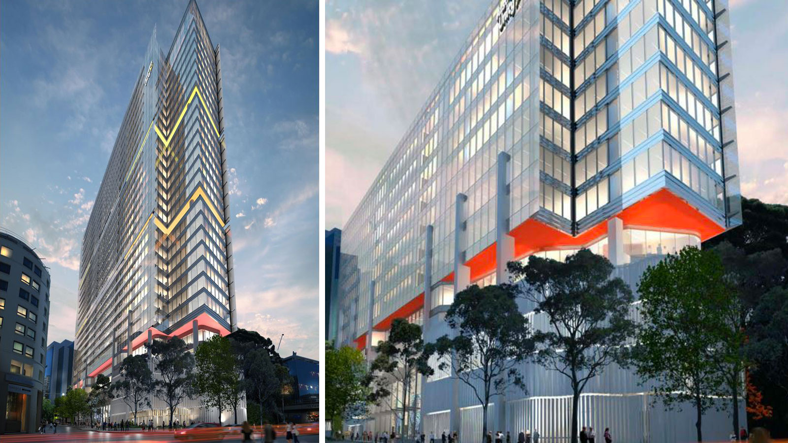 ▲ Comparison of the new Australian Unity plans for Valentine Avenue which features a slim 30-storey building versus the original plans which are a third of the size and features the same podium and red block colour near the fifth floor.