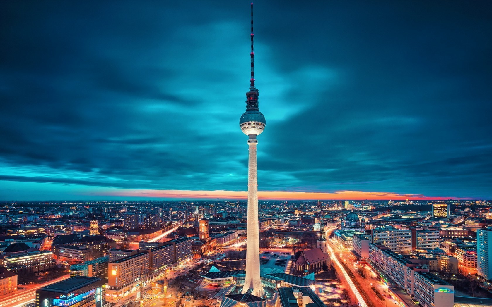 The Fernsehturm, television tower, in Berlin. Built by the German Democratic Republic in 1965-69 the tower remains the tallest structure in Germany.