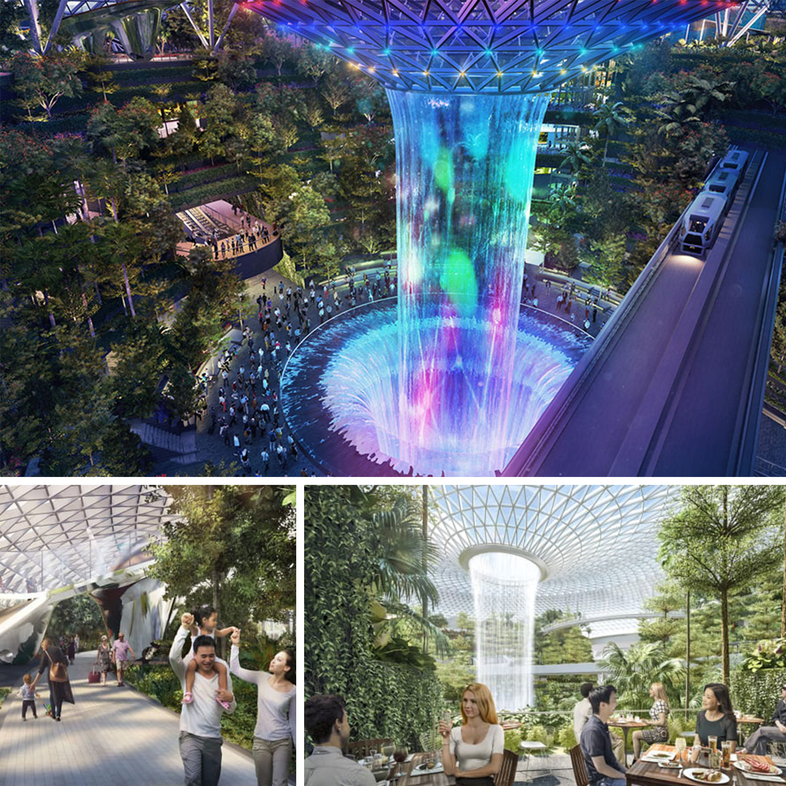 The Rain Vortex will be the world's tallest indoor waterfall dumping as much as 10,000 gallons of water a minute. At night it will be transformed by a light and sound show.