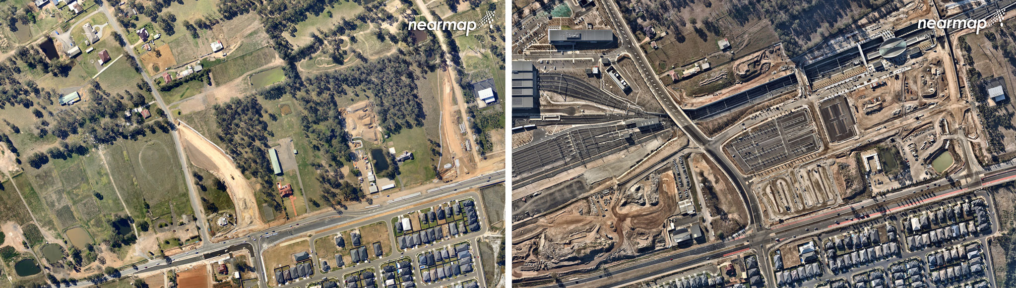 Sydney Metro Train Facility, September 2013 (left), Sydney Metro Train Facility, May 2018 (right).
