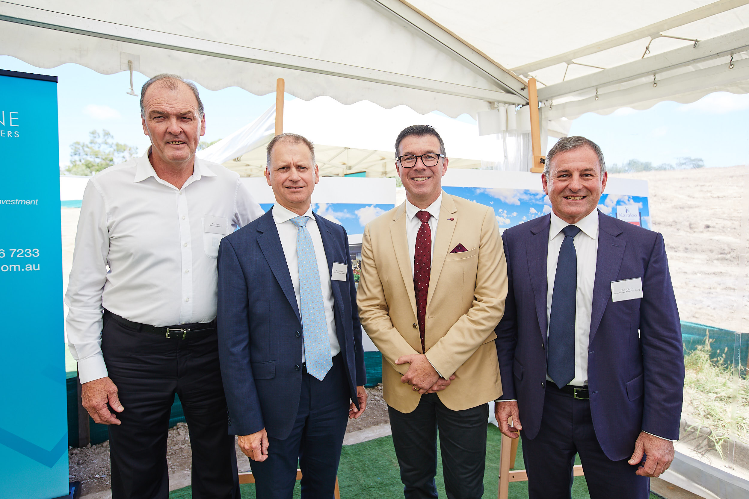 Construction on the Karalee Shopping Centre kicked off on Monday. Pictured (L-R): Managing Director at Hutchinson Builders Greg Quinn, Director Asset Management and Execution at CBS Lane Capital Partners Warwick Whatley, Ipswich Mayor Cr Andrew Antoniolli and Executive Chairman at Consolidated Properties Don O'Rorke.