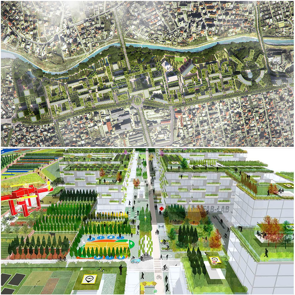 Tirana Riverside Masterplan in Albania is Stefano Boeri's masterplan designed in response to post Covid-19 needs