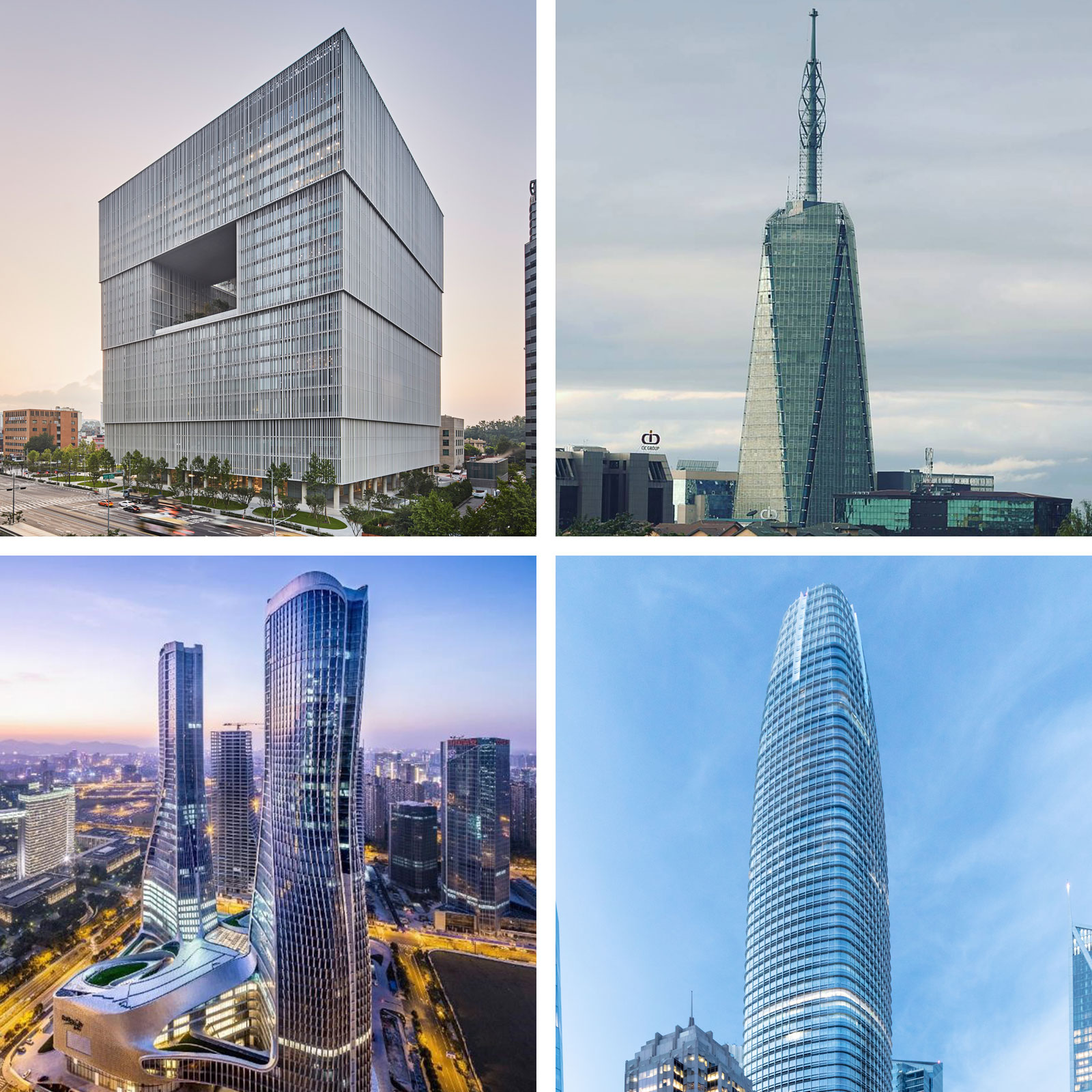 Amorepacific Headquarters - Seoul (top left), Britam Tower - Nairobi (top right), Raffles City Hangzhou - Hangzhou (bottom left), Salesforce Tower - San Francisco (bottom right).