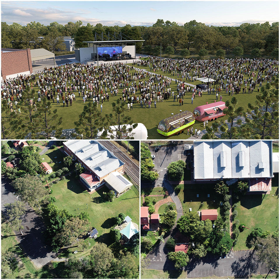 ▲ Artist's render of what is set to become the city's largest outdoor venue are Complete Urban while IA Design is behind the Kingston Butter Factory theatre and living museum in Logan, south of Brisbane.