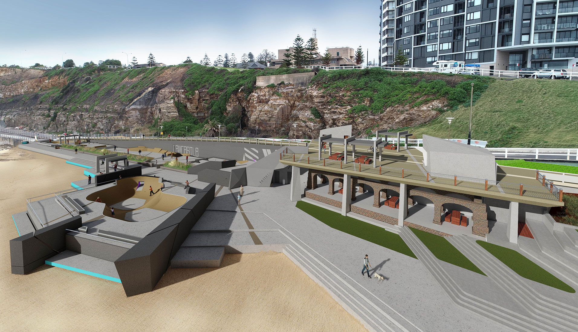 A render of the final design for the Shortland Esplanade upgrade.
