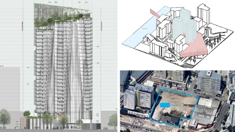 architect plans for tower one of Platinum in Hamilton, next image the site overview and the vacant block of land.