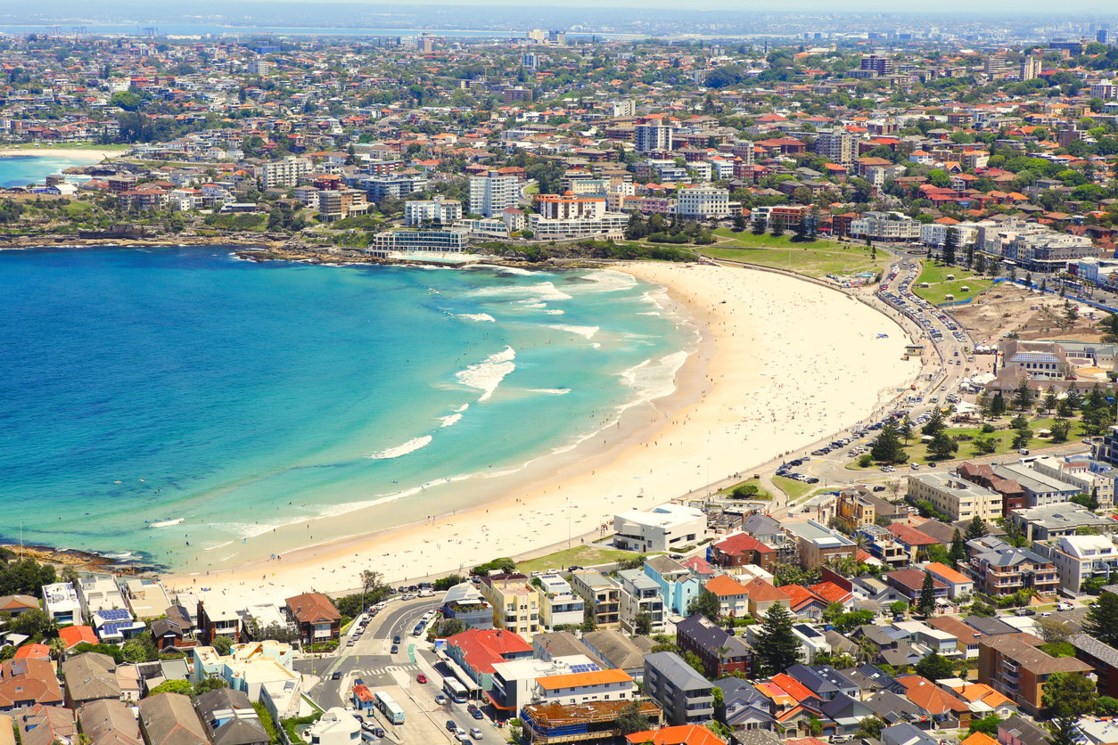 Aerial view of Bondi.