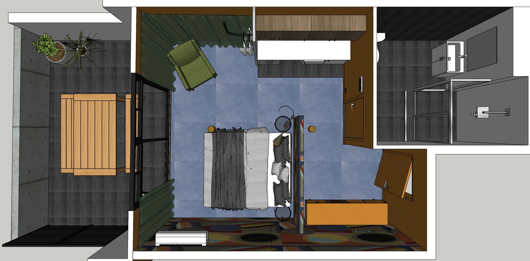 A floorplan of one of the room types within The Collectionist