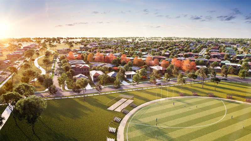 ▲ Planning Minister Richard Wynne approved the 1434-hectare suburb as part of the government's plan to release 100,000 residential lots last year. Image: Artists render of the suburb for Wollert