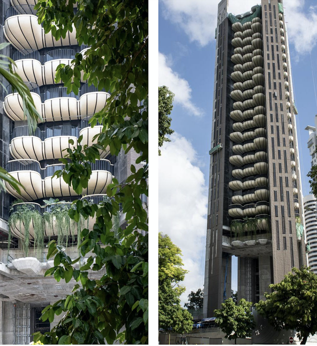 Cantilevered balconies offer solar shading while windows open on three sides to allow natural cross-ventilation. The tower boasts a Green Mark Platinum rating.