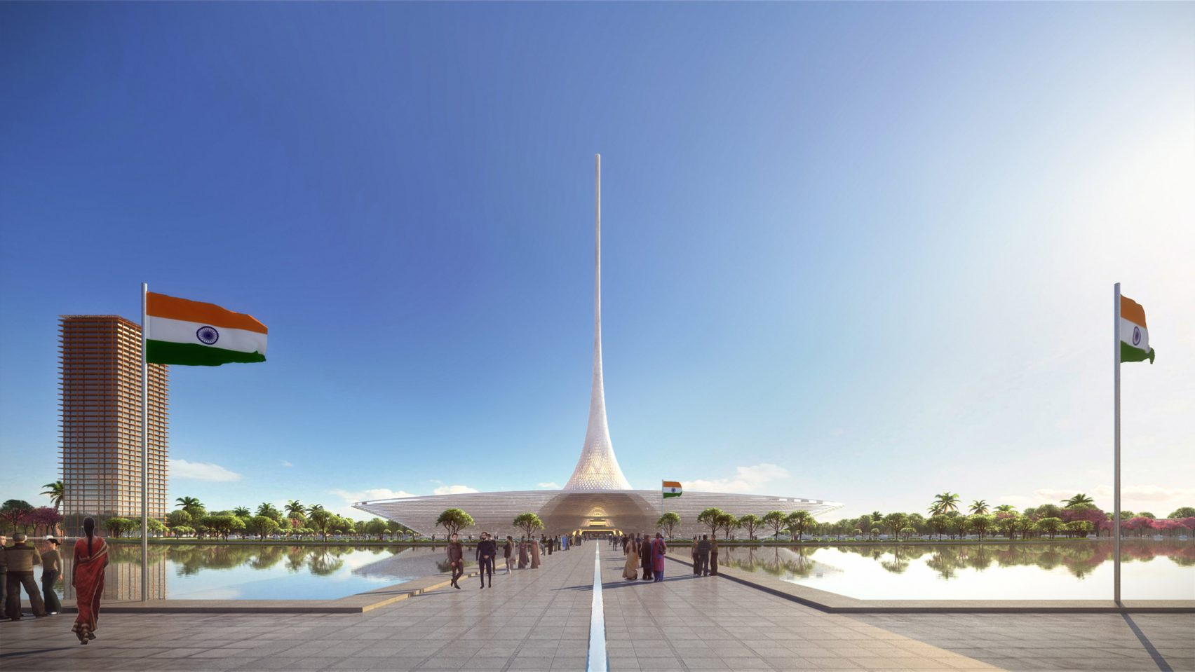 The legislative building features a 250-metre-high needle-like roof, and sits within a large freshwater lake.