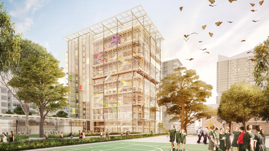 Australia's Education Systems building vertically. Arthur Phillip High School reaches 17-storeys as part of the $5 billion NSW School Infrastructure program.