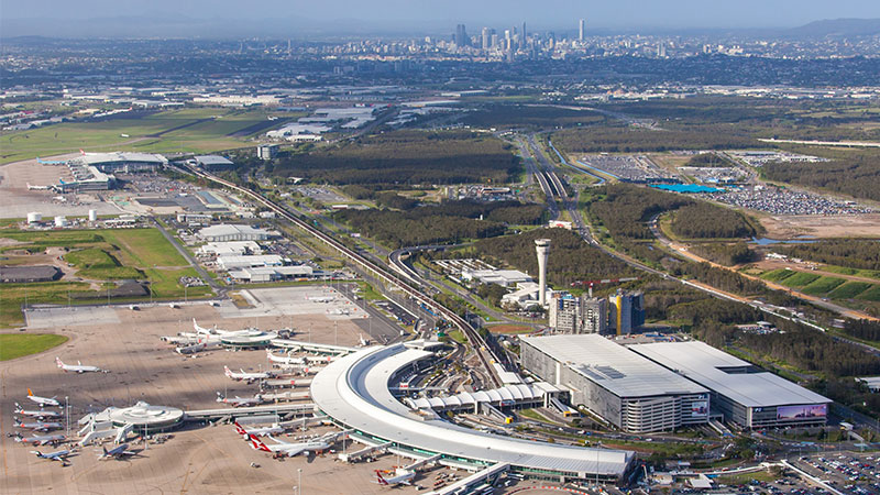 Bird's-eye-view of Brisbane airport, the new runway for which is still on track for completion despite the coronavirus-related cancellation of its July 12 launch.